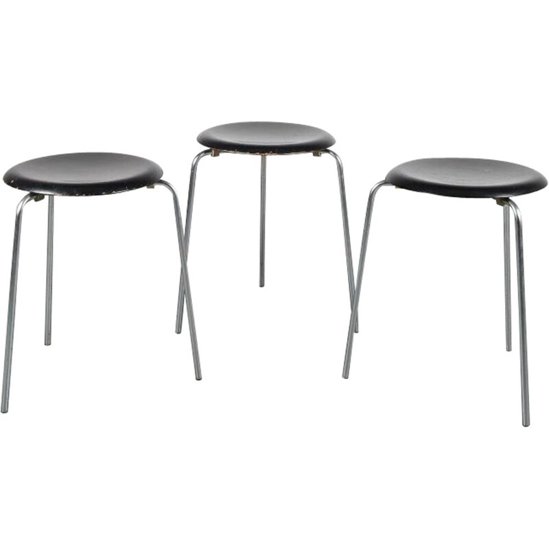 "1950s ""Dot"" stools  designed by Arne Jacobsen, manufactured by Fritz Hansen in Denmark"