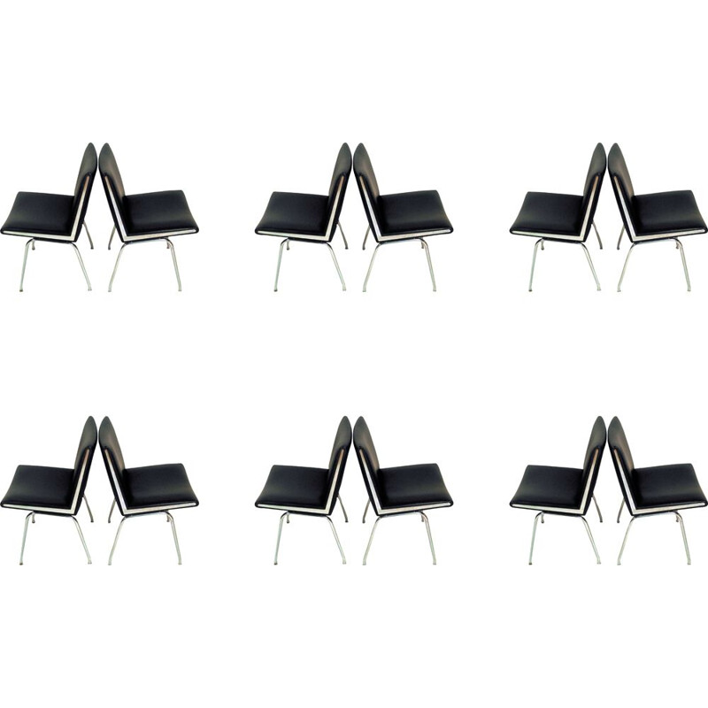 """Set of 12 """"Airport"""" lounge chairs by Hans J. Wegner from A.P. Stolen, 1960s"""