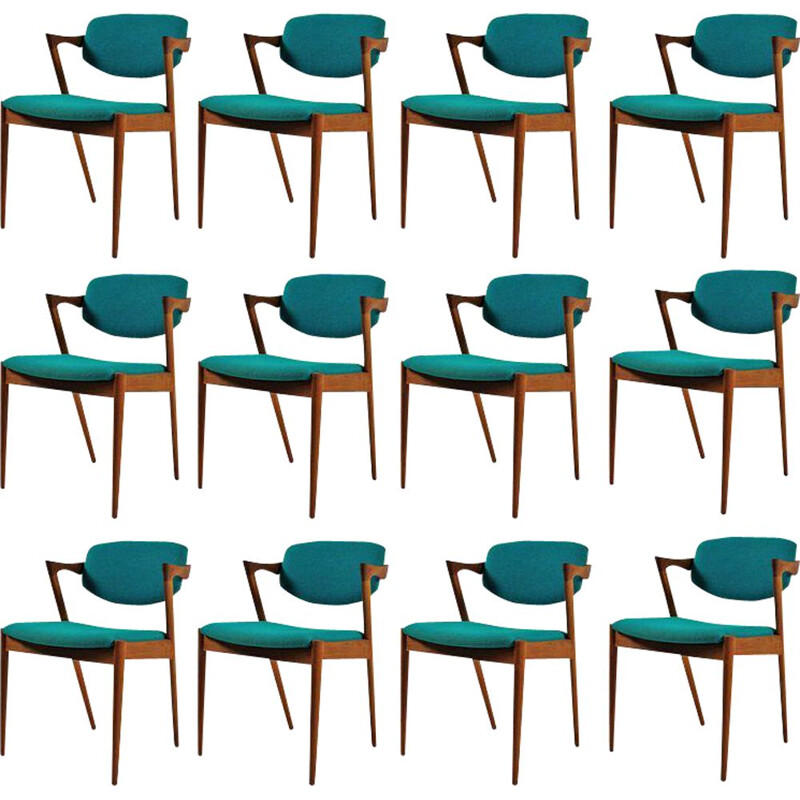 Set of 12 vintage dining chairs in teak by Kai Kristiansen, 1960s