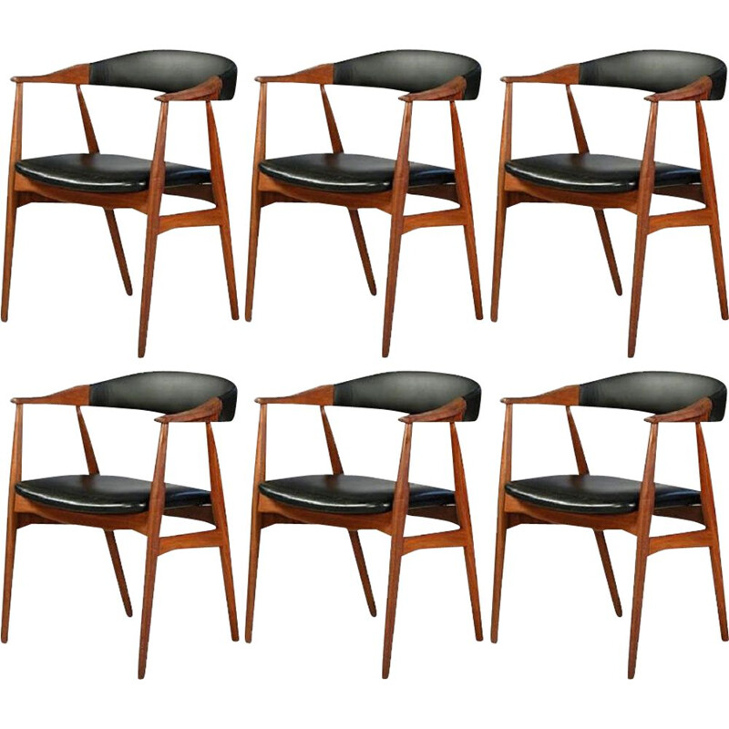 Set of 6 vintage armchairs by Th. Harlev for Farstrup Møbler, 1950s