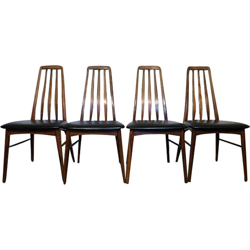 "Set of 4 vintage chairs ""Eva"" by Niels Koefoed 1960"