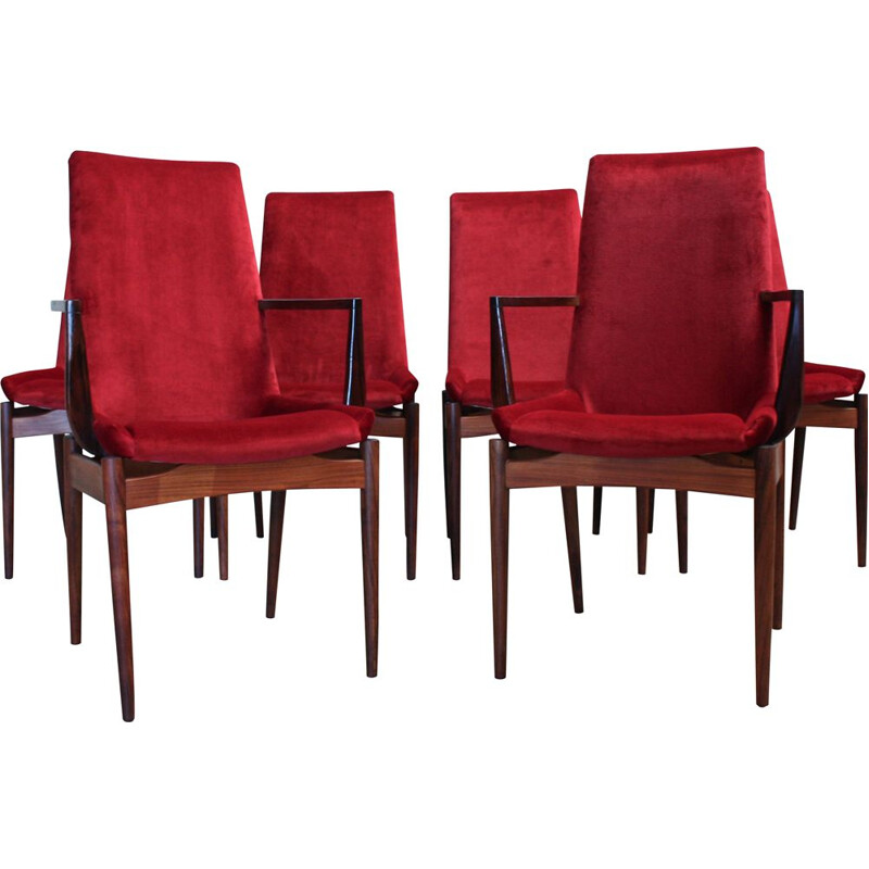 Set of 6 Vintage Rosewood Dining Chairs by Robert Heritage for Archie Shine, 1950s