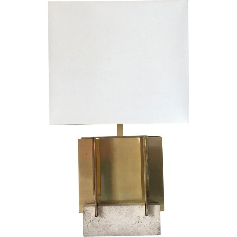 Vintage brass and travertine lamp by Gaetano Sciolari