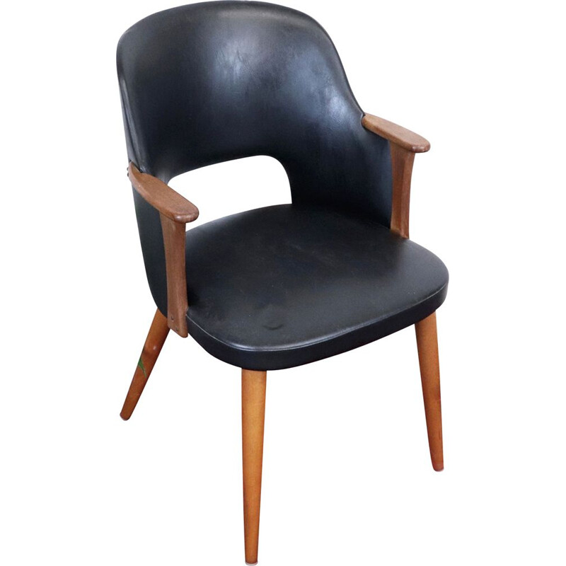 Vintage imitation leather armchair, Sweden, 1960