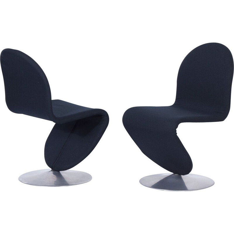Set of 2 vintage 123 chairs by Verner Panton for Fritz Hansen, 1970s