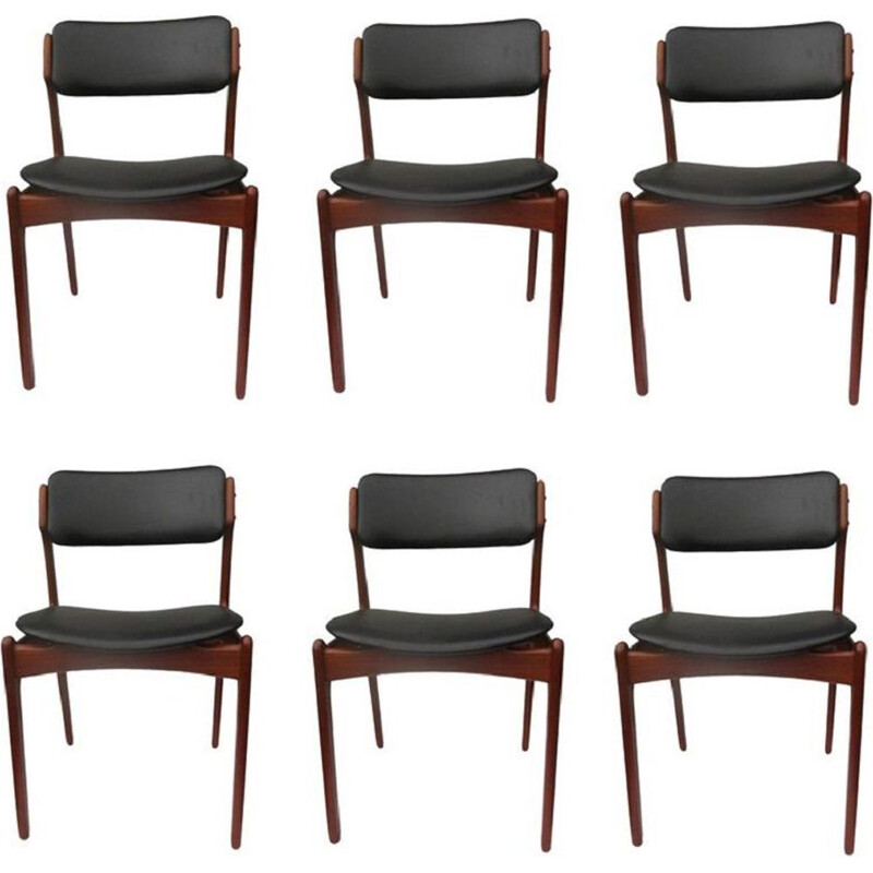 Set of 6 teak vintage dining chairs by Erik Buch, 1960s