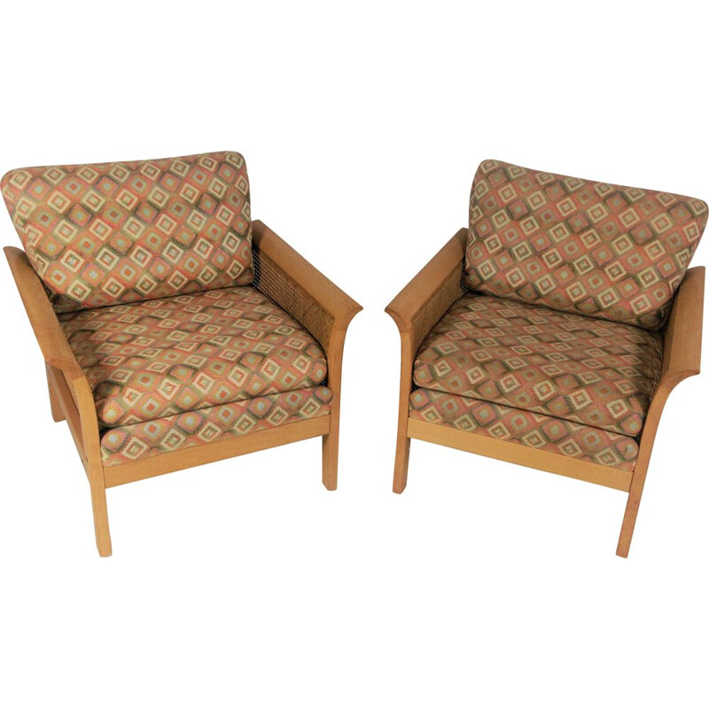 Set of 2 vintage Rotang armchairs by Arne Norell, 1970s