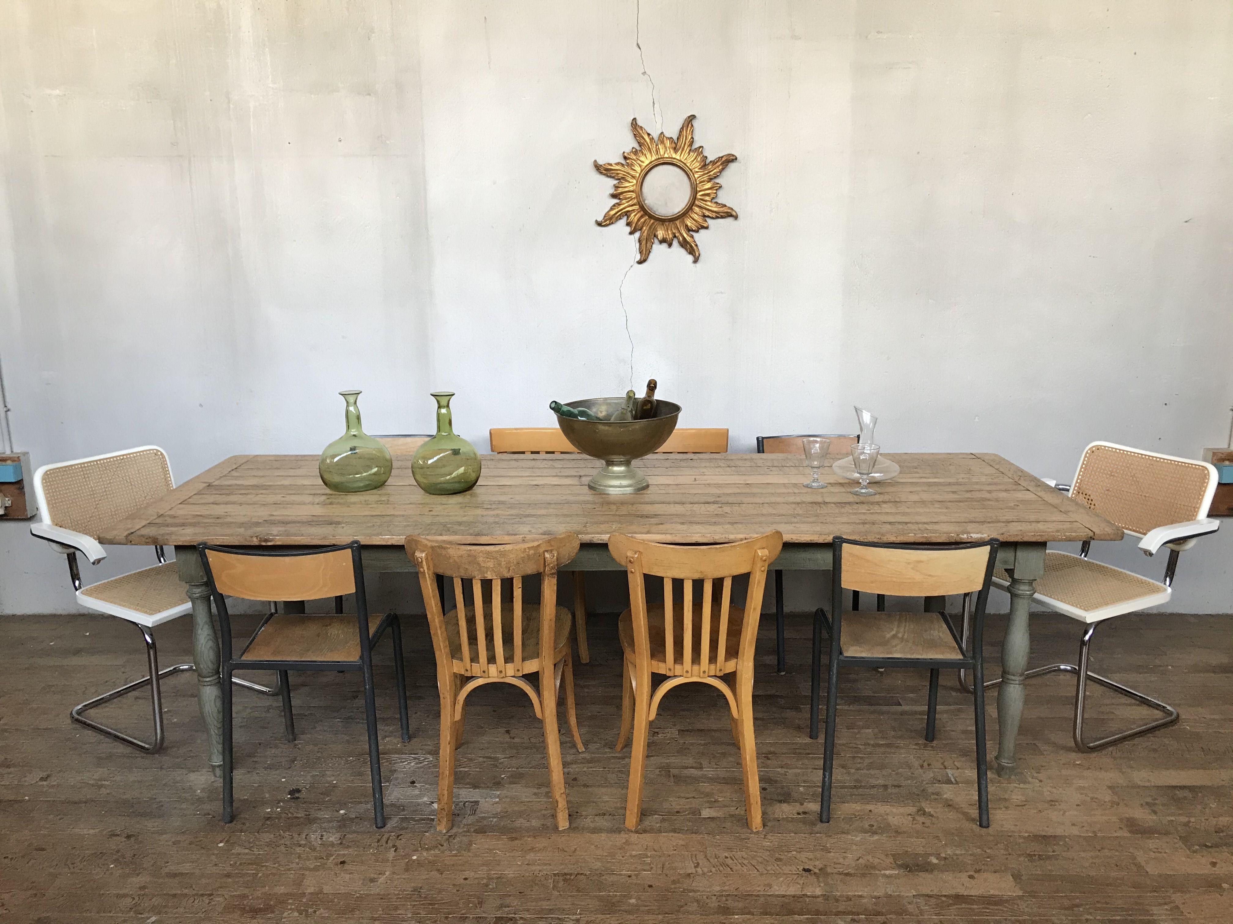 Grande table de ferme vintage en sapin