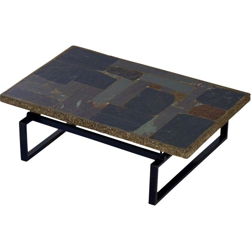 Vintage Brutalist Coffee Table with Mosaic by Paul Kingma, 1970s