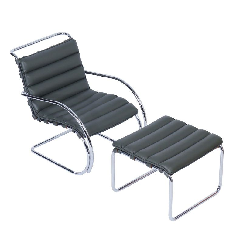 Vintage MR Lounge Chair with footstool by Mies van der Rohe for Knoll, 2000s