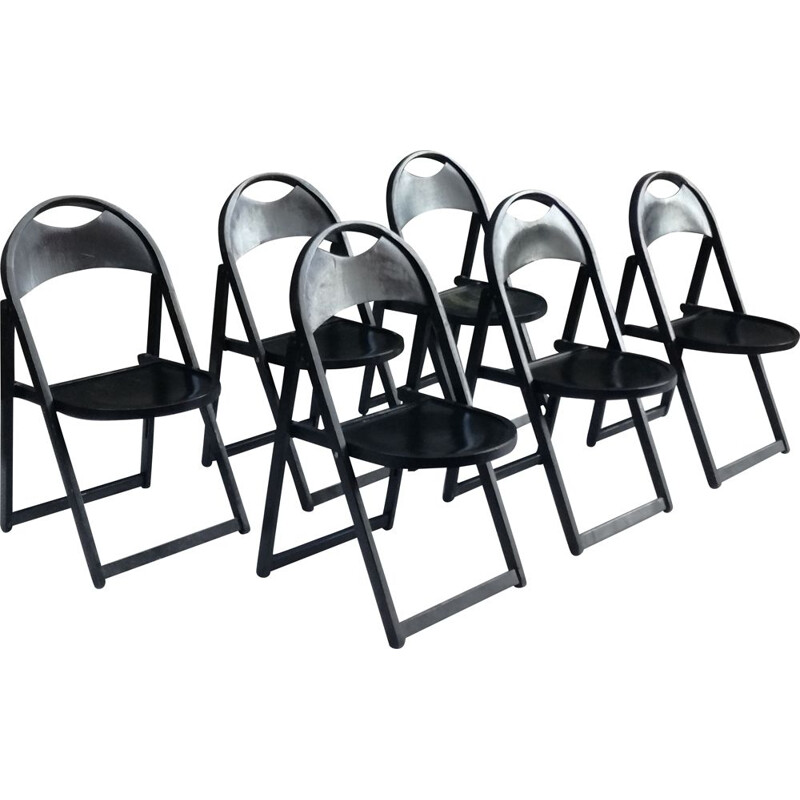 Set of 6 chairs Vintage Folding Chairs Model B751 in Beech from Thonet, 1970