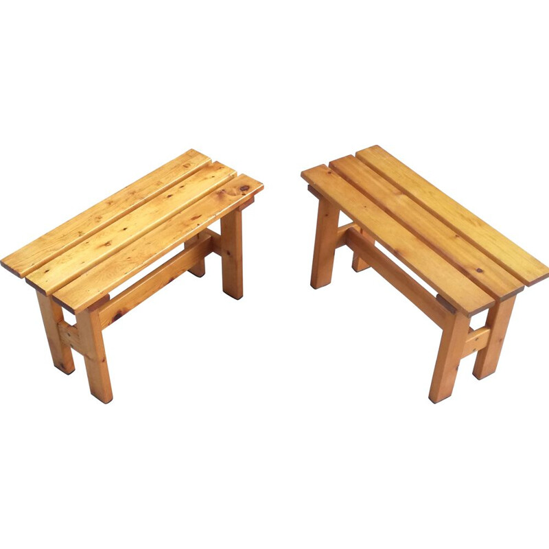 Set of 2 vintage pine slatted benches, France, 1960s