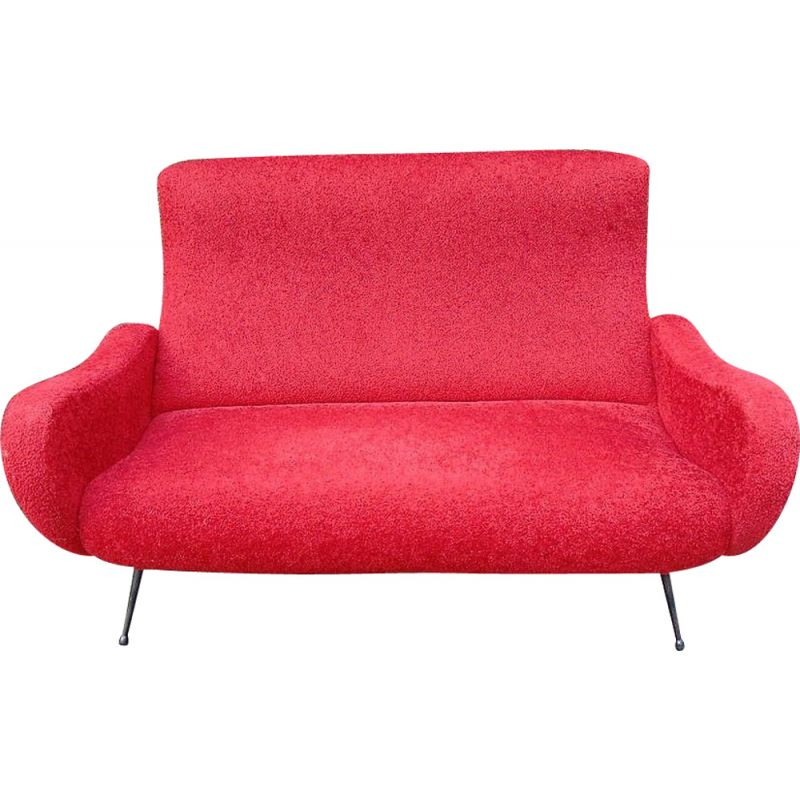 Vintage red fabric sofa, 1950s