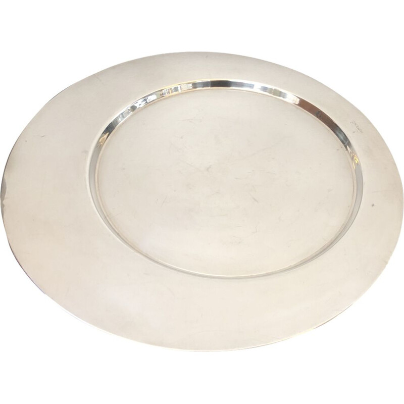 Silver plated vintage round tray by Gio Ponti for Cleto Munari, circa 1970