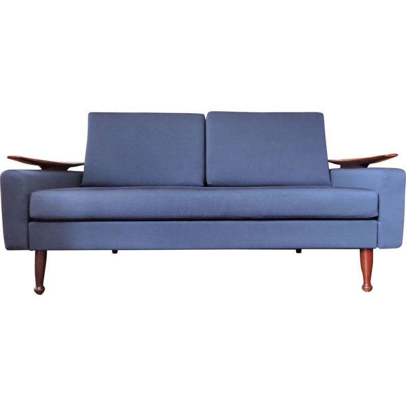 Navy blue vintage sofa by Greaves and Thomas, 1960s