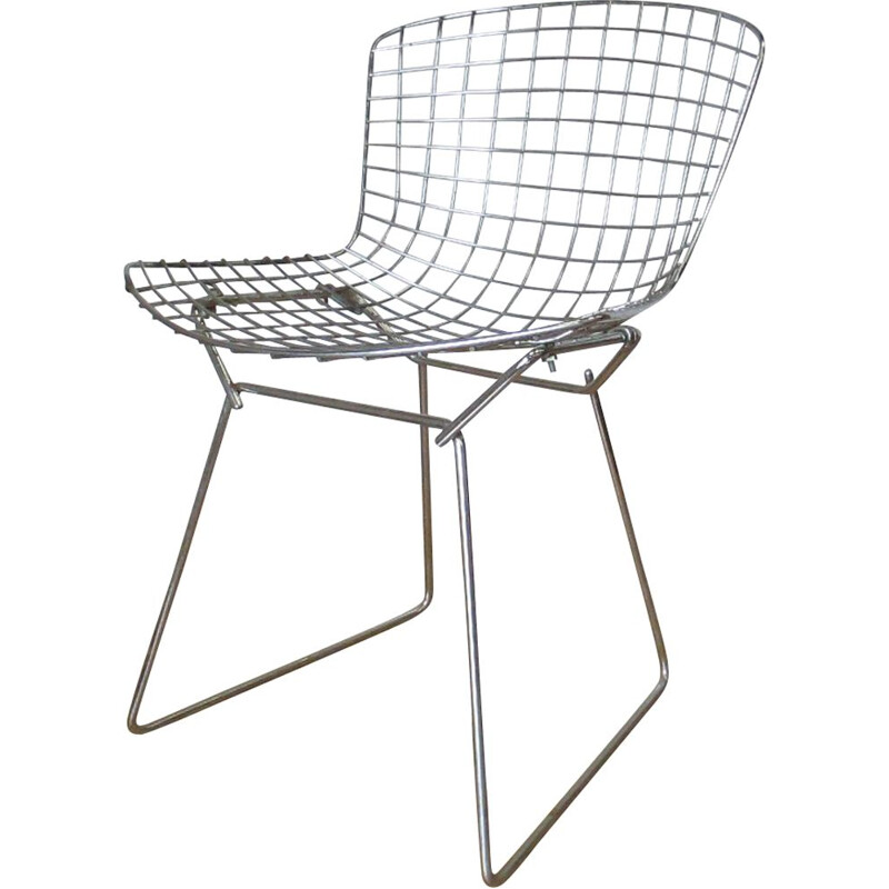 Vintage chromed metal chair by H.Bertoia, 1966