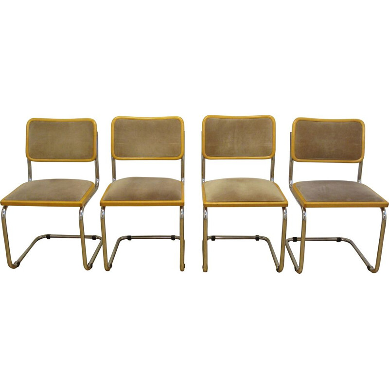 Set of 4 vintage Cesca B32 chairs by Marcel Breuer