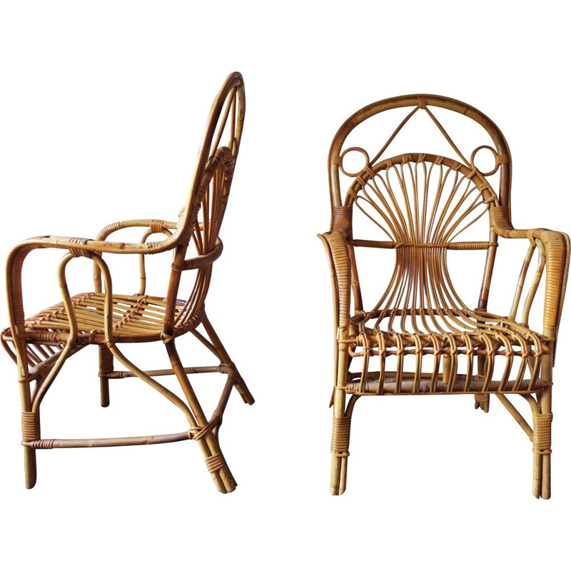 Set of 4 bamboo vintage armchairs, 1960s