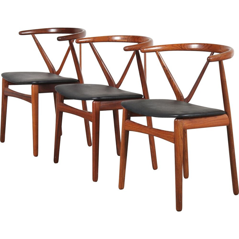 Rosewood vintage dining chairs, by Henning Kjaernulf for Bruno Hansen, Denmark, 1960s