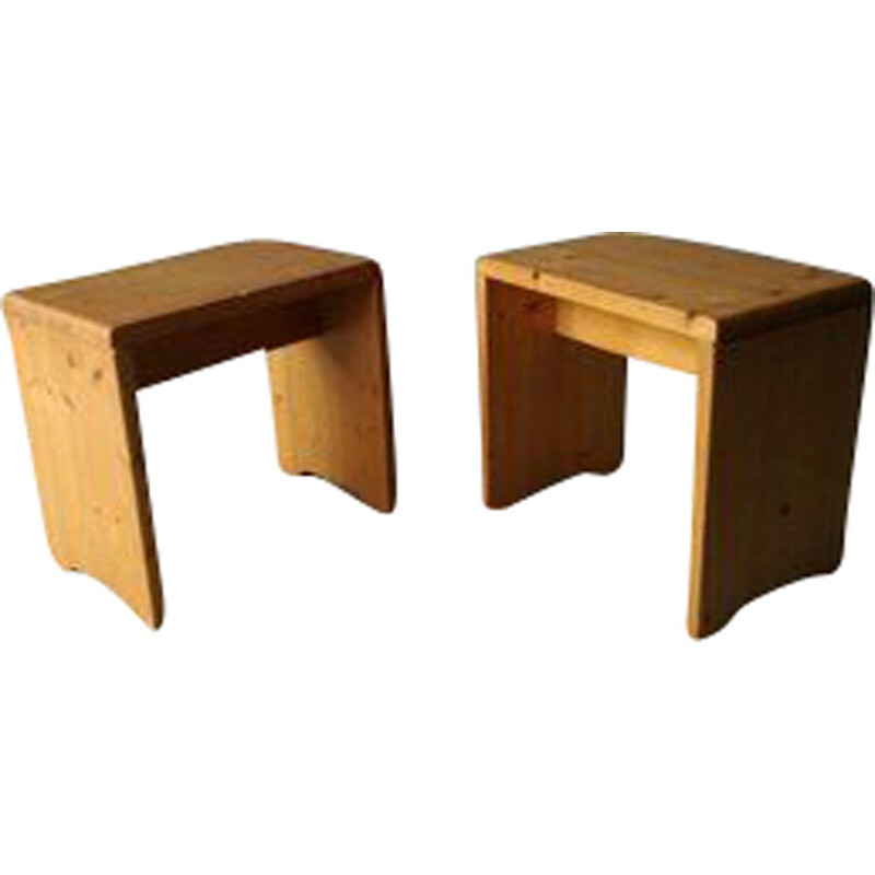 Pair of vintage pine stools by Charlotte Perriand, 1950s