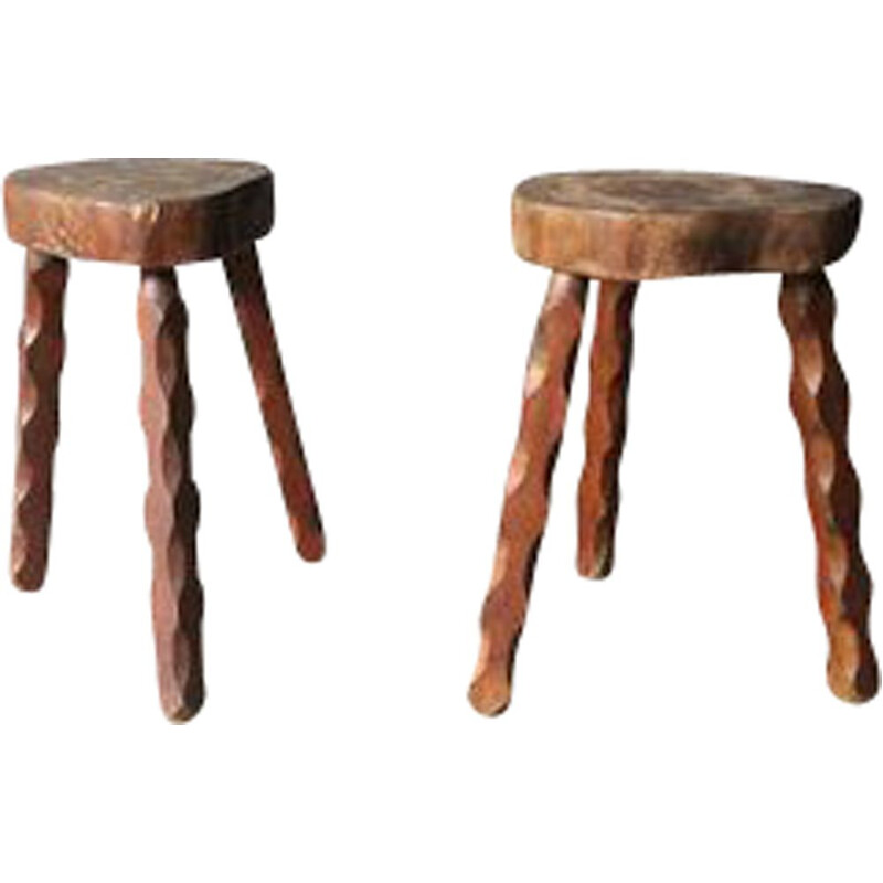 Pair of vintage tripod stools