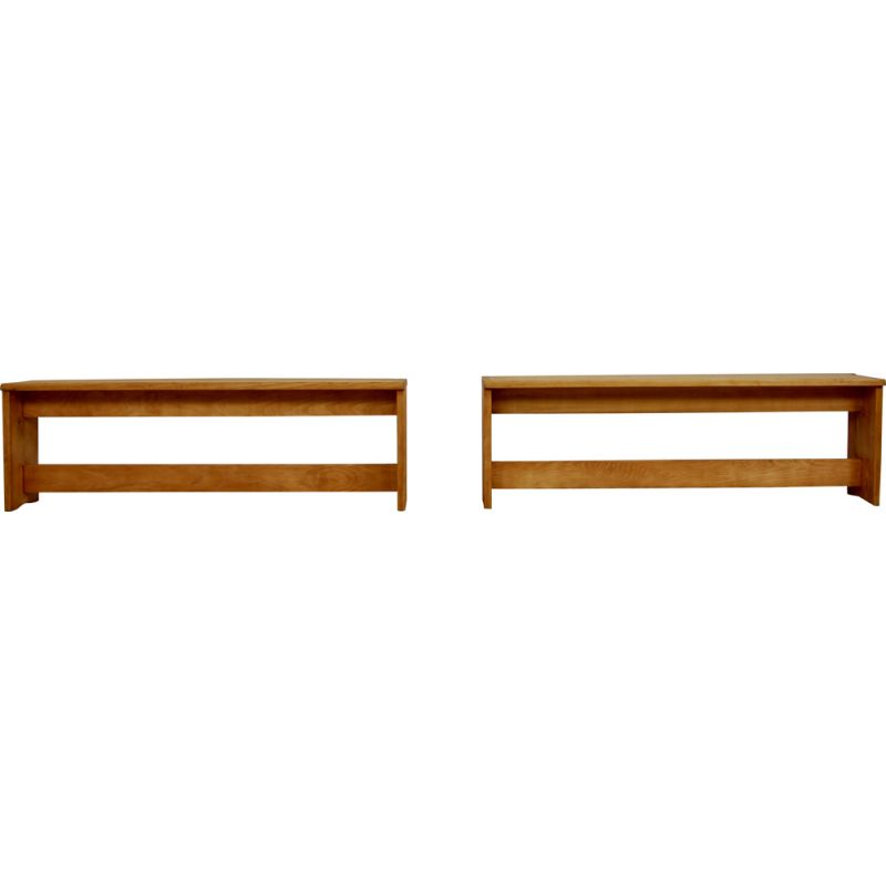 Pair of vintage pine benches, 1960S