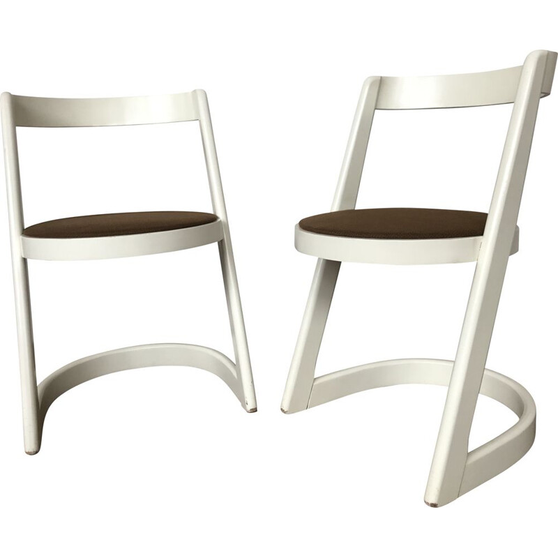 Pair of BAUMANN vintage chairs model Halfa white 1970