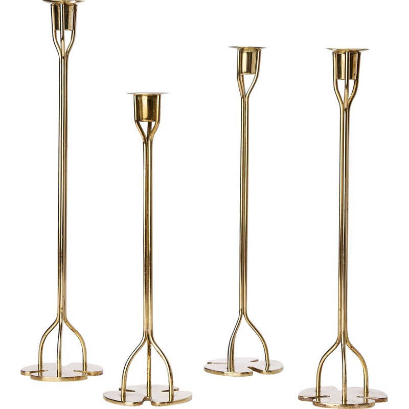 Suite of four vintage brass candleholders, Josef Frank 1940