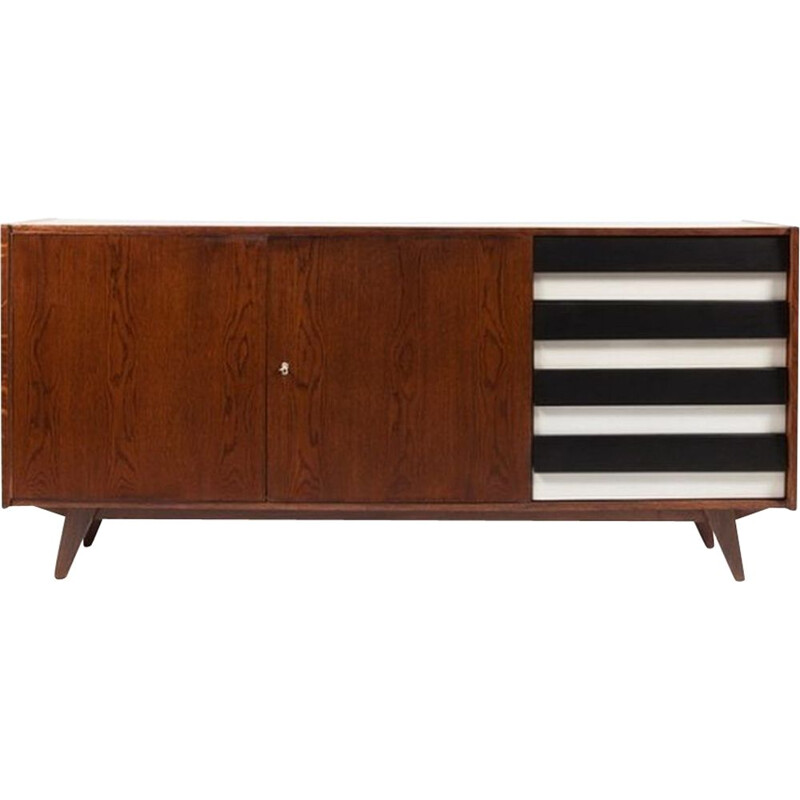 Vintage sideboard par Jiri Jiroutek for Interier Praha model U 460 in black & white