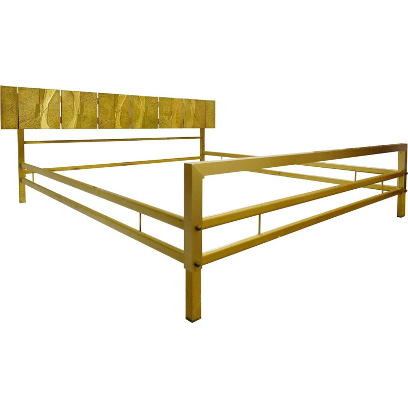 Vintage bed Luciano Frigerio with cast bronze panels, Italy, 1960s