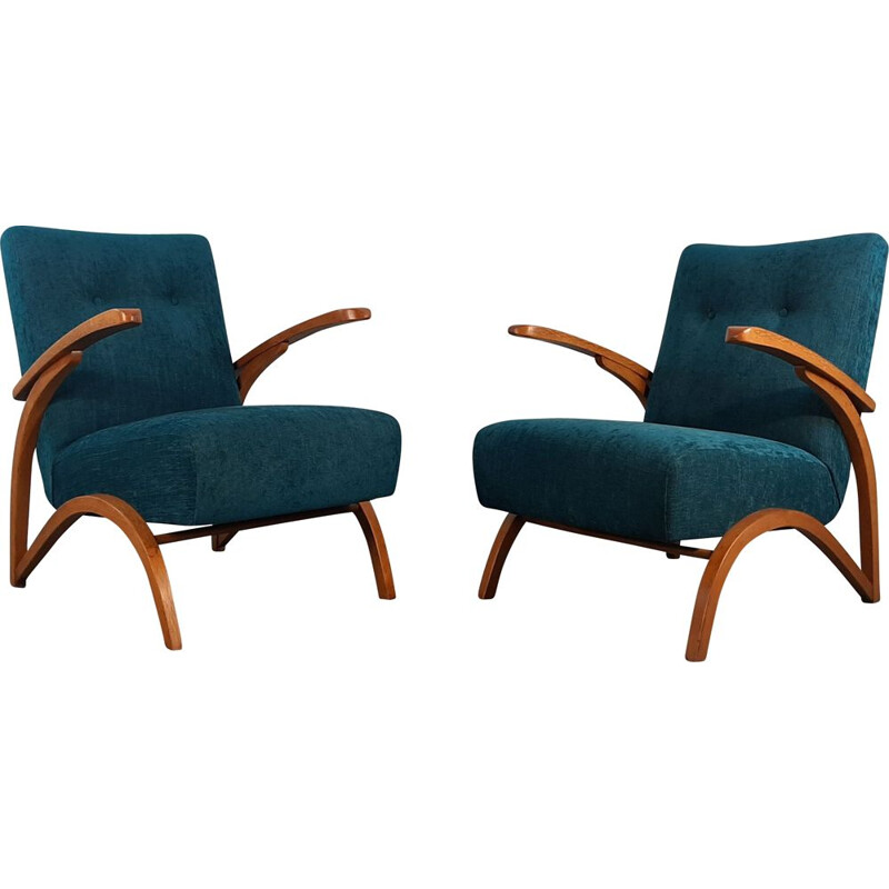 Pair of vintage Halabala armchairs by Thonet, 1930