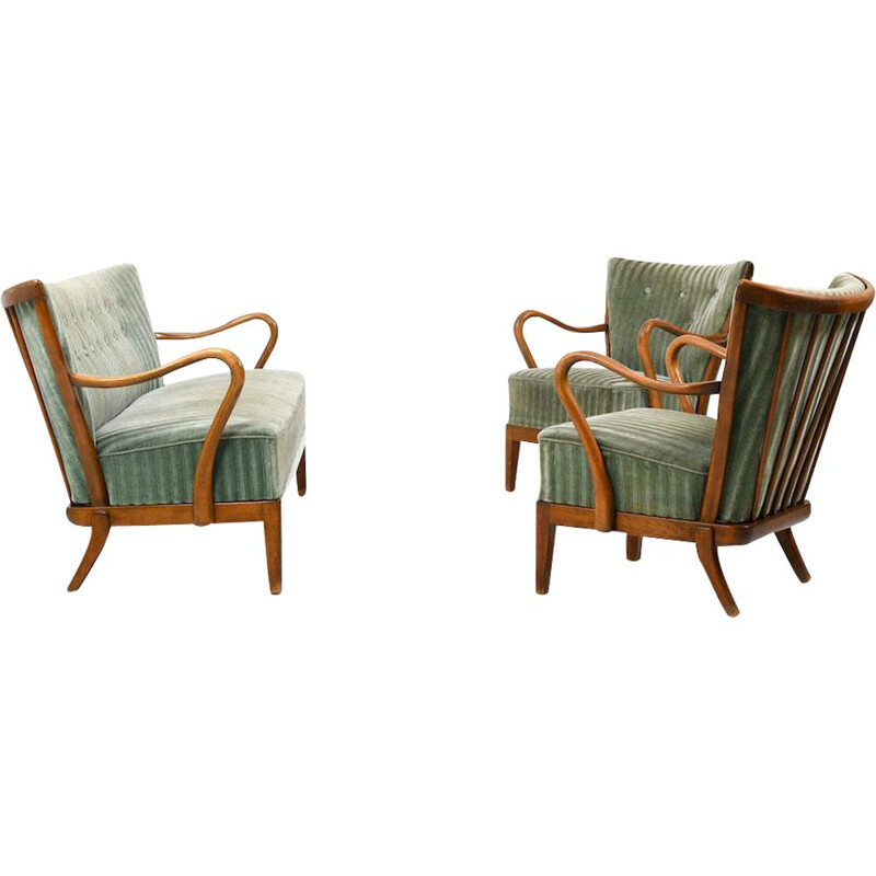 Set of 2 vintage armchairs and sofa by Slagelse Møbelværk, 1930