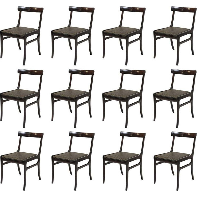 Vintage set of 12 mahogany dining chairs