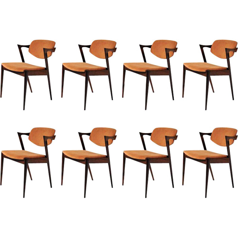 Set of 8 vintage Kai Kristiansen dining chairs in rosewood