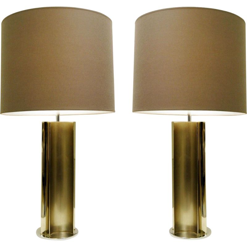 Pair of vintage table lamps in brushed chrome, 1970