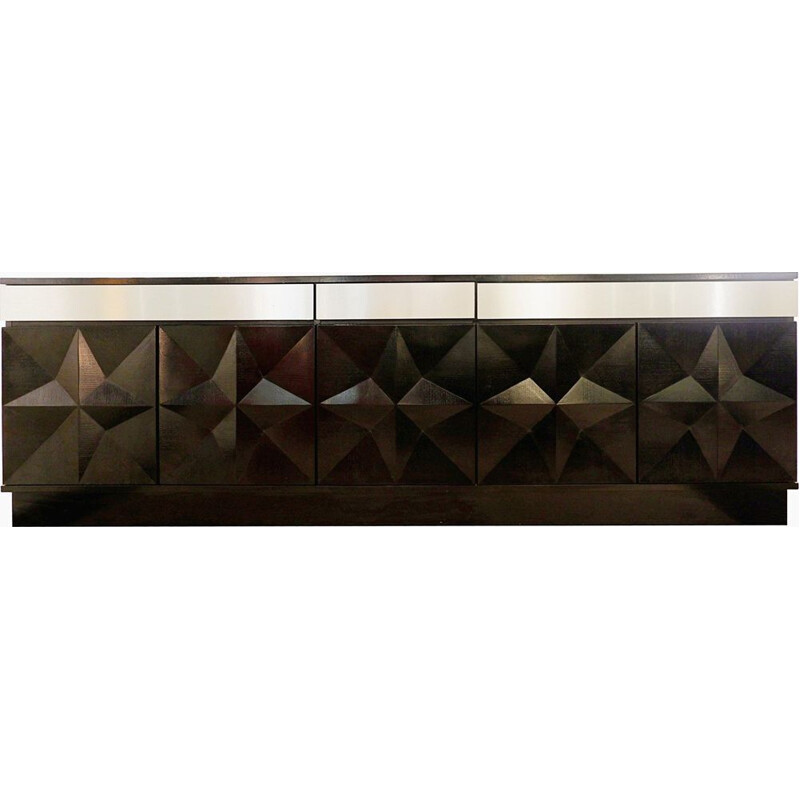 Brutalist vintage sideboard with brushed steel