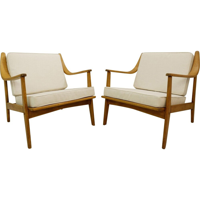 Pair of vintage armchairs with new beige upholstery