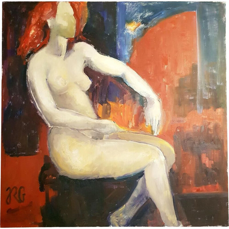 Oil on canvas Contemporary vintage, Nude, 100 X 100, RG, 20th century