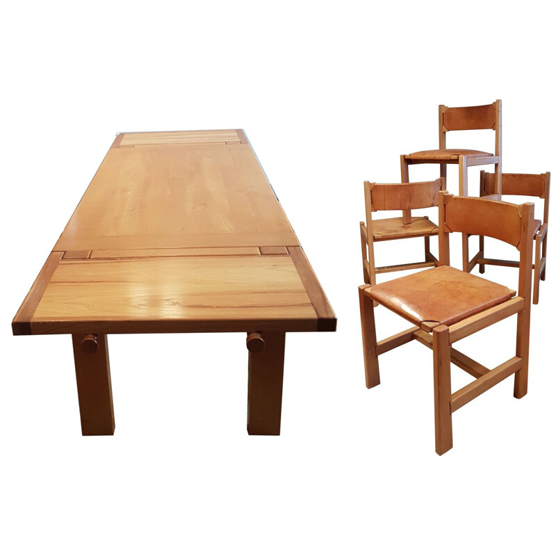 Vintage dining set in elm and leather