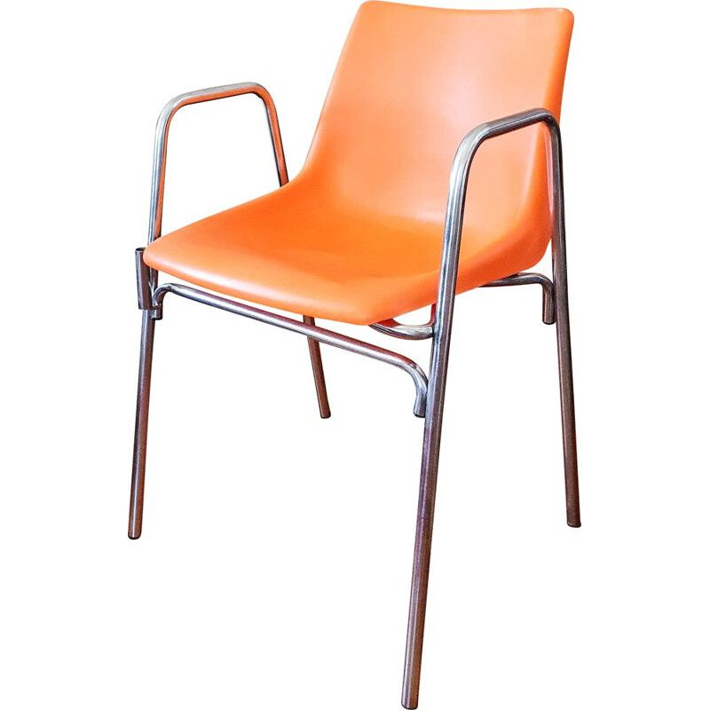 Vintage orange plastic chair 1970