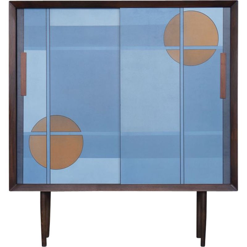 Vintage Scandinavian hand-painted cabinet with pattern in blue, 1960s
