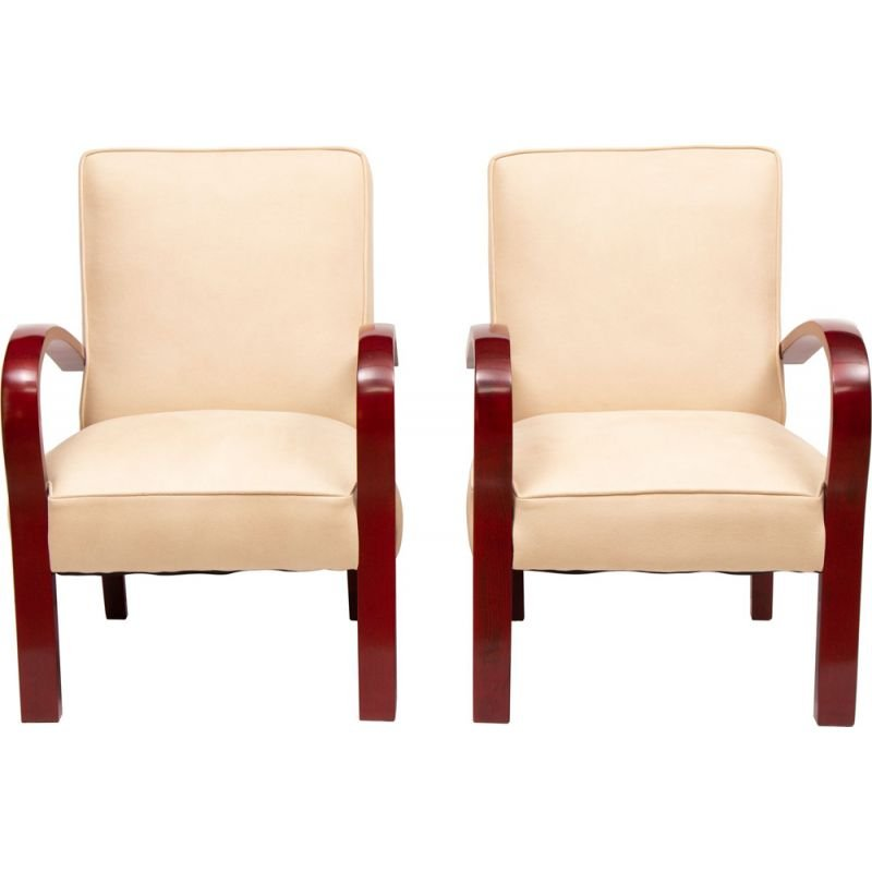 Pair of vintage French art deco armchairs in faus suede