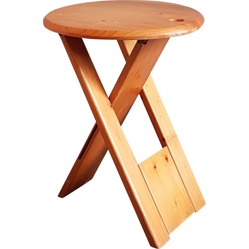 Vintage folding stool in wood