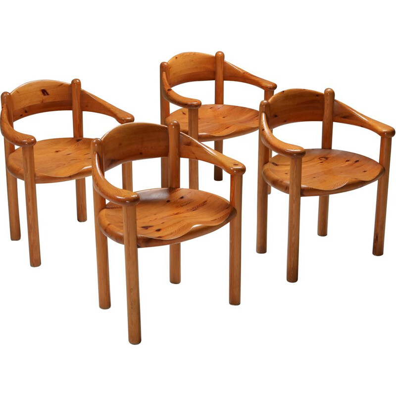 Set of 4 vintage Rainer Daumiller pine armchairs, 1970s