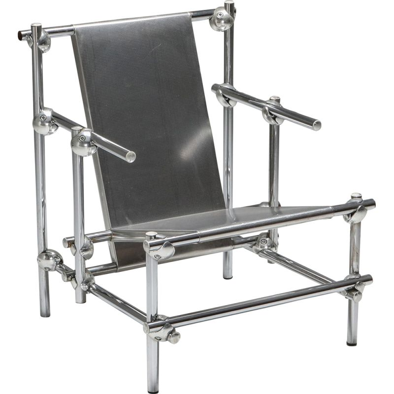 Vintage Rietveld style chromed metal lounge chair, 1970