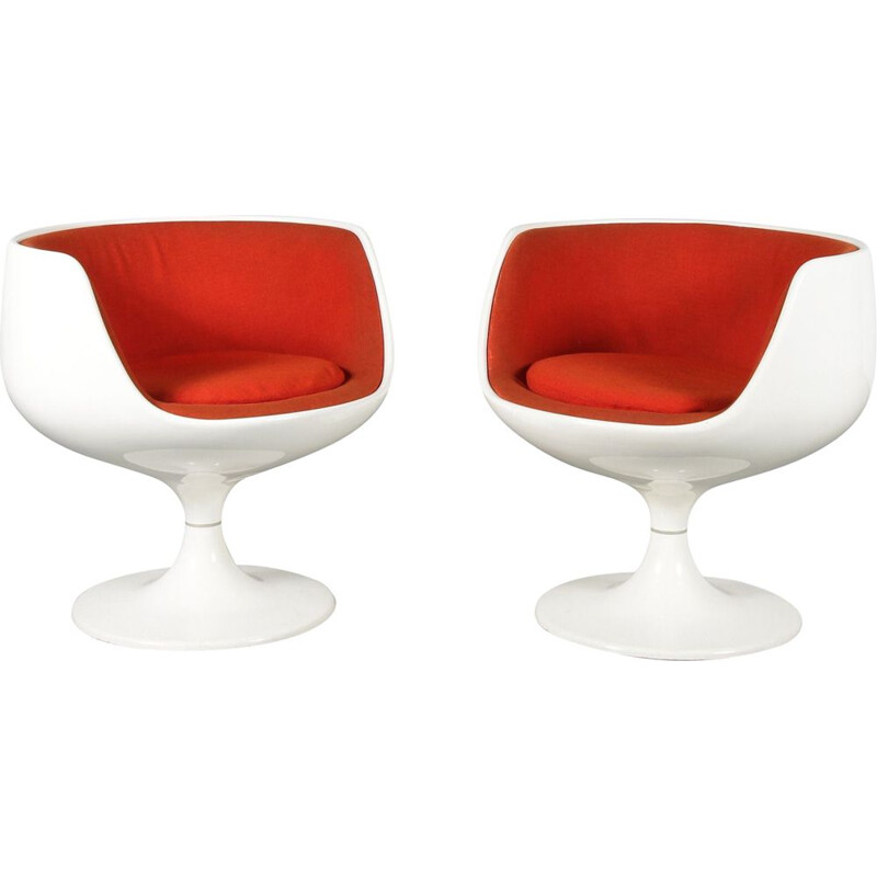 "Pair of vintage ""Cognac Chairs"" by Eero Aarnio for Asko, Finland, 1960"