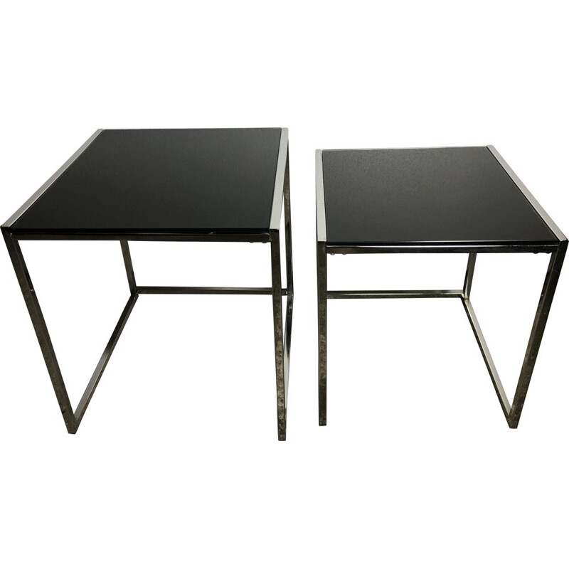 Chrome-plated aluminium nesting tables with black glass top, 1980