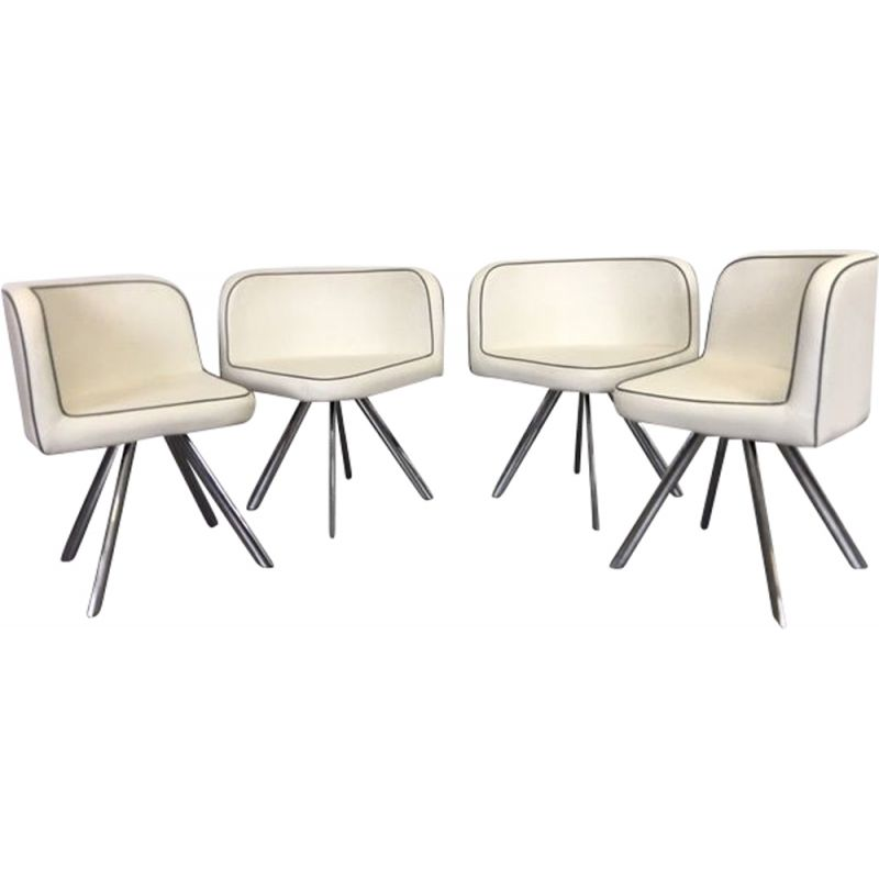 Suite of 4 vintage armchairs, memphis design in imitation leather and chrome, 1980