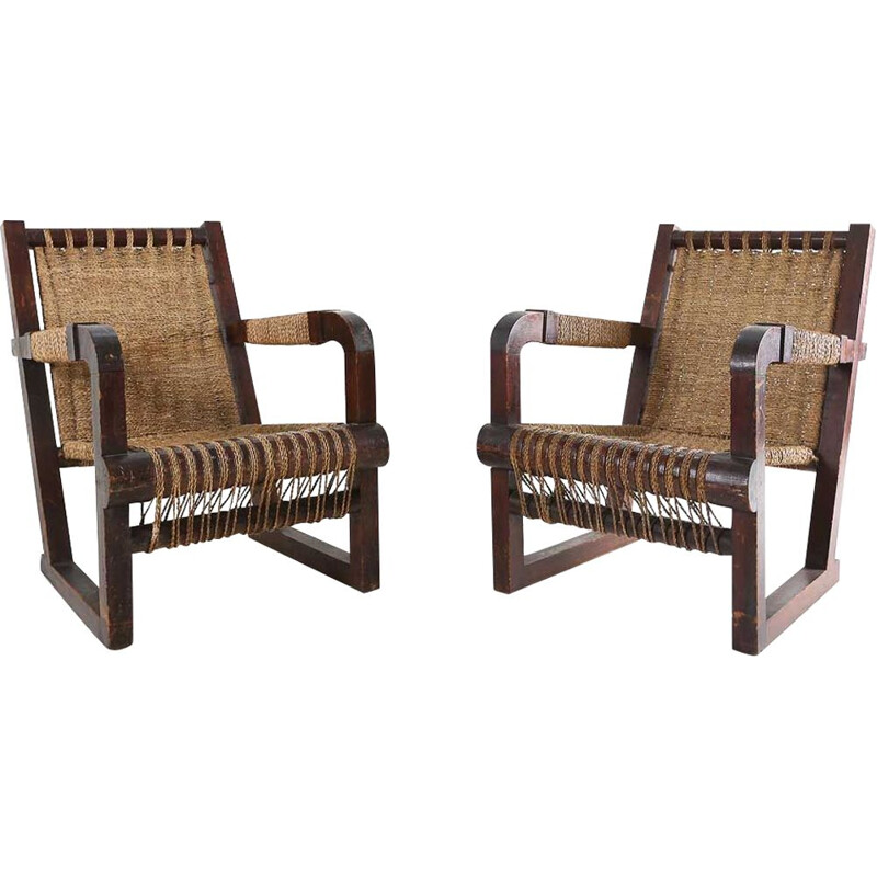 Pair of vintage French Art Deco chairs
