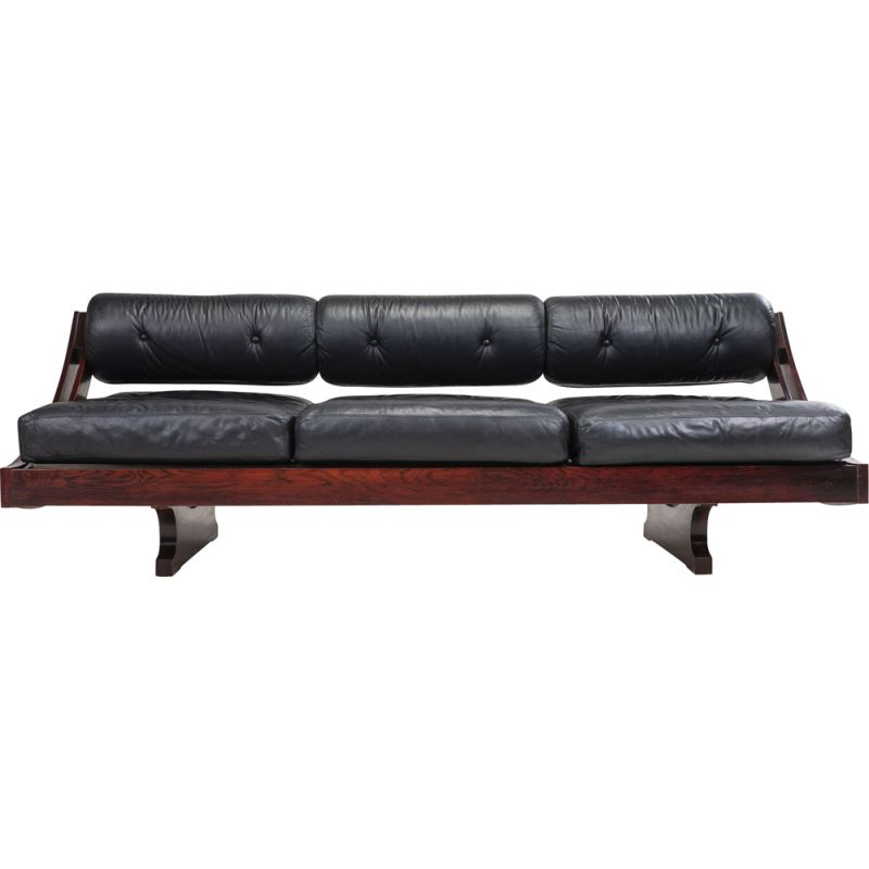 Vintage black model GS 195 leather sofa by Gianni Songia, 1960s